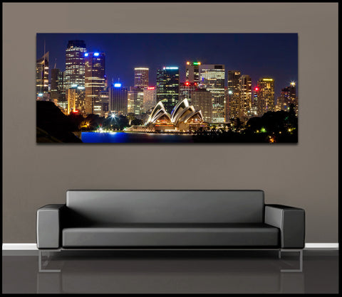 """Sydney Skyline"" Australia Fine Art Gallery Wrapped Canvas Print"