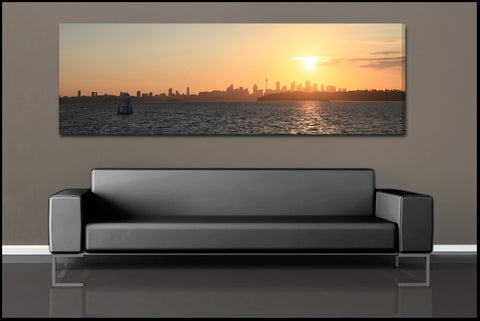 """Sydney Sunset"" Panoramic Fine Art Gallery Wrapped Canvas Print"