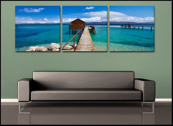 tahoe cabin 3 piece triptych fine art gallery wrapped canvas set. Black Bedroom Furniture Sets. Home Design Ideas