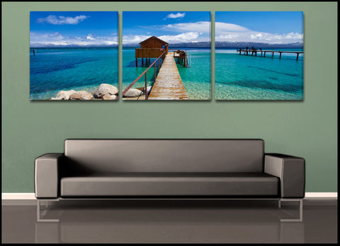 """Tahoe Cabin""  3-Piece Triptych Fine Art Gallery Wrapped Canvas Set"