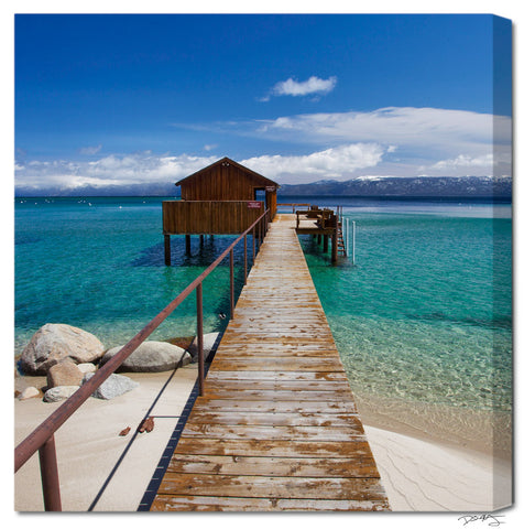 """Tahoe Cabin"" Square Fine Art Gallery Wrapped Canvas Print"