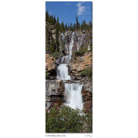 """Tangle Falls Cascades"" Vertical Panoramic Fine Art Gallery Wrapped Canvas Print"