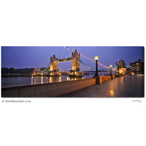 """Morning Light on Tower Bridge"" London Panoramic Fine Art Gallery Wrapped Canvas Print"
