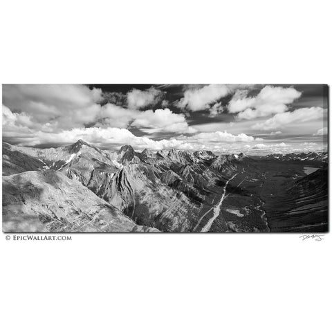 """The Towering Rockies"" Black & White Fine Art Gallery Wrapped Canvas Print"