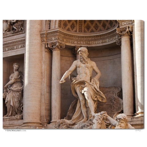 """Trevi Fountain Statues"" Rome Fine Art Gallery Wrapped Canvas Print"