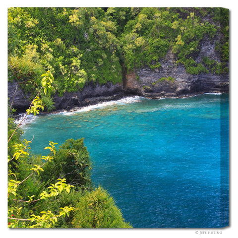 """Maui Coastal Lagoon"" Square Fine Art Gallery Wrapped Canvas Print"