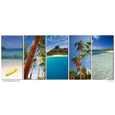 """Tropical Inspiration"" Fiji Islands 5-Piece Fine Art Canvas Wall Display"