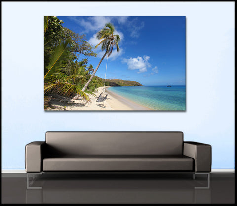 """Tropical Island Beach"" Fiji Fine Art Gallery Wrapped Canvas Print"