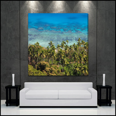 """Tropical Lagoon"" Fiji Square Fine Art Gallery Wrapped Canvas Print"