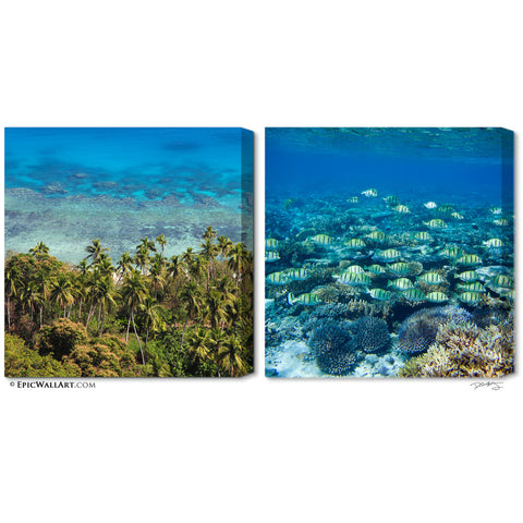 """Tropical Waters"" Fiji 2-Piece Fine Art Canvas Wall Display"