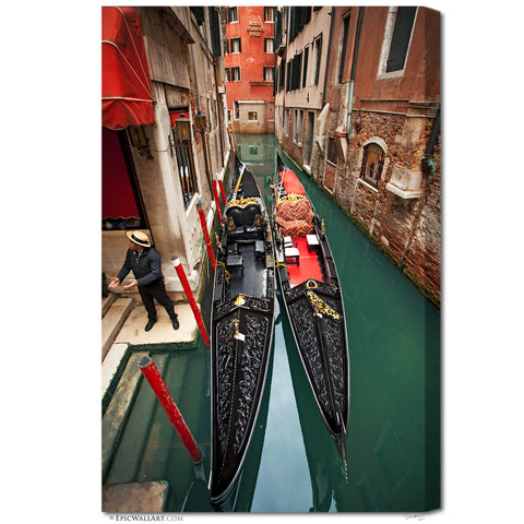"""Venice Boats"" Italy Fine Art Gallery Wrapped Canvas Print"