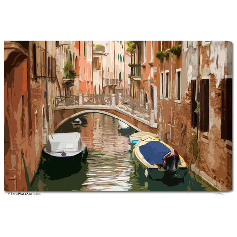 """Venice Bridge"" Italy Digital Art Fine Art Gallery Wrapped Canvas"