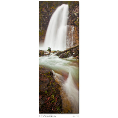 """Virginia Falls Flowing"" Glacier National Park Vertical Panoramic Fine Art Gallery Wrapped Canvas Print"