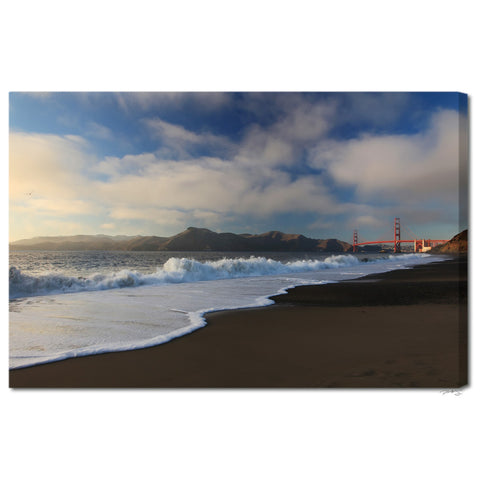 """Waves Crashing on Baker Beach"" Fine Art Gallery Wrapped Canvas Print"