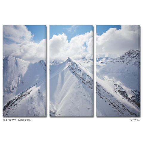 """White Mountain Skies"" Triptych Fine Art Canvas Wall Display"