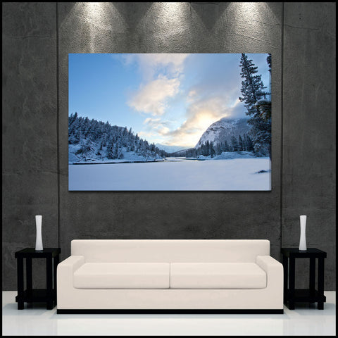 """Winter River Sunrise"" Banff Fine Art Gallery Wrapped Canvas Print"