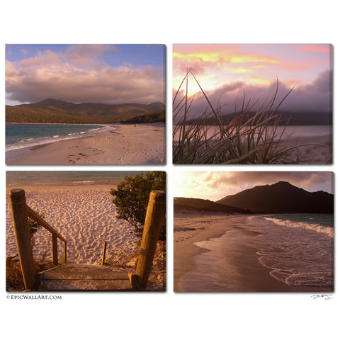 """Wineglass Bay Sunrise"" Tasmania 4-Piece Fine Art Gallery Wrapped Canvas Set"