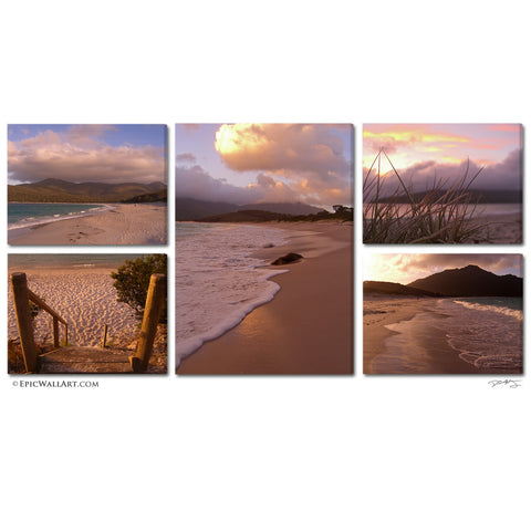 """Wineglass Bay Sunrise"" Tasmania 5 Piece Fine Art Gallery Wrapped Canvas Wall Display"