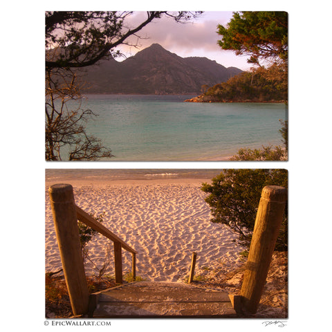"""Wineglass Bay Sunset"" Tasmania 2-Piece Fine Art Gallery Wrapped Canvas Set"
