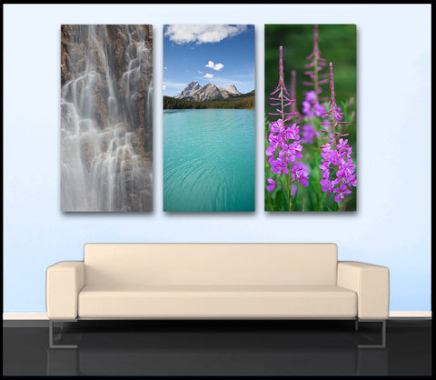 """Wonders of Jasper"" Alberta 3-Piece Fine Art Canvas Wall Display"