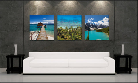 """World of Blue"" Epic Fine Art 3-Piece Canvas Set"