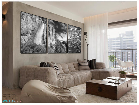 """Yosemite Falls"" Rocky Mountains Black & White Fine Art 3-Piece Triptych Set"