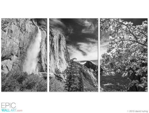Yosemite falls rocky mountains black