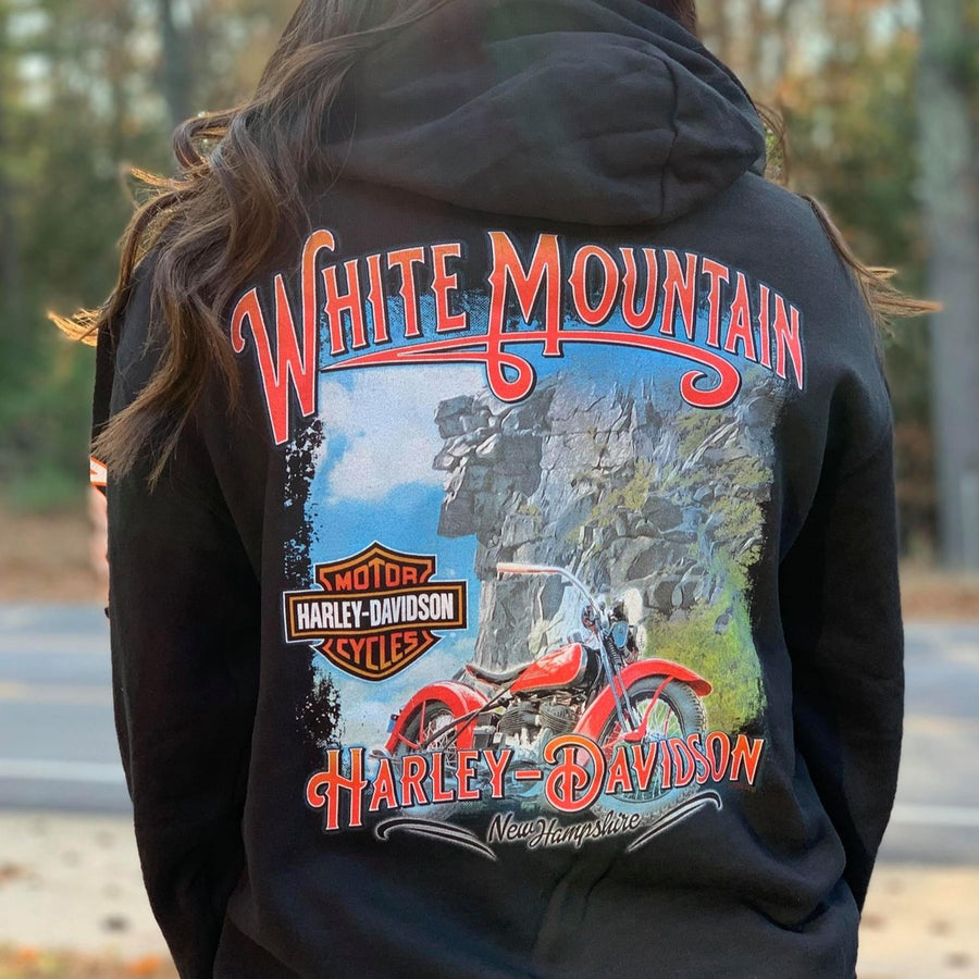 White Mountain Monument Hooded Zip Sweatshirt Black