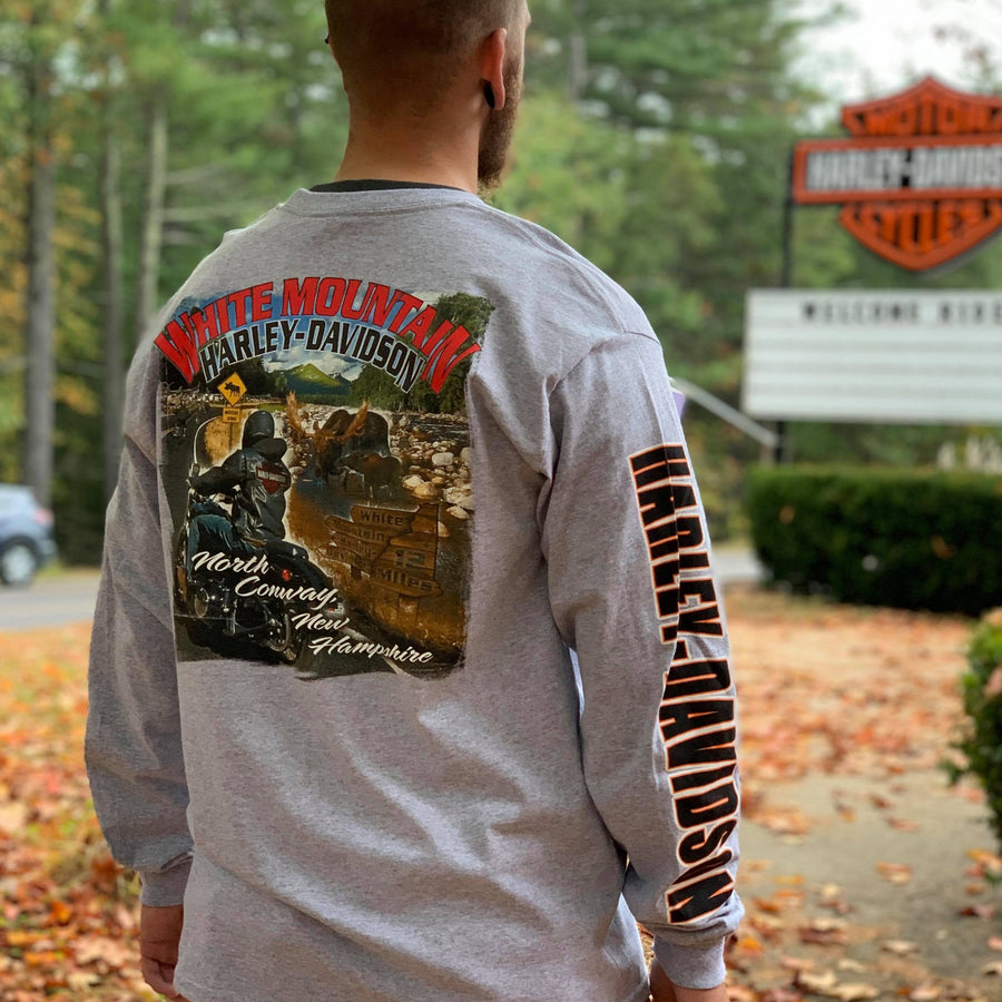 White Mountain Moose Crossing Long Sleeve T-Shirt Gray