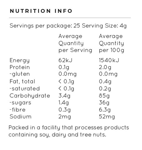 tropicana nutrition table