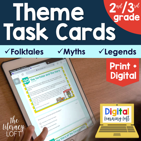 Theme Task Cards 2nd/3rd Grade | Distance Learning | Google Apps