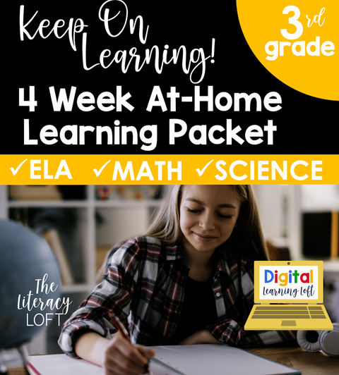 4 Week At Home Learning Packet (3rd Grade) | Distance Learning | Google Slides
