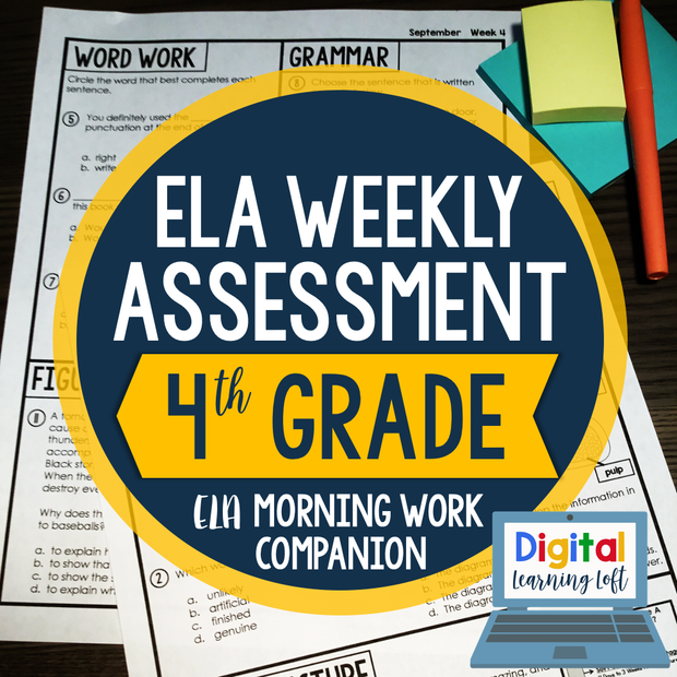 ELA Weekly Assessments {4th Grade} | Distance Learning | Google Forms