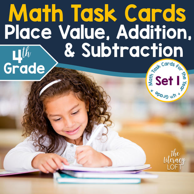 Place Value, Addition, and Subtraction Task Cards (4th Grade) Google Slides & Forms Distance Learning