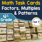 Factors, Multiples, and Patterns Math Task Cards (4th Grade)