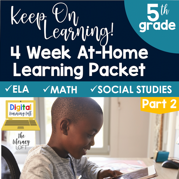 4 Week At Home Learning Packet Part 2 (5th Grade) | Distance Learning | Google Slides