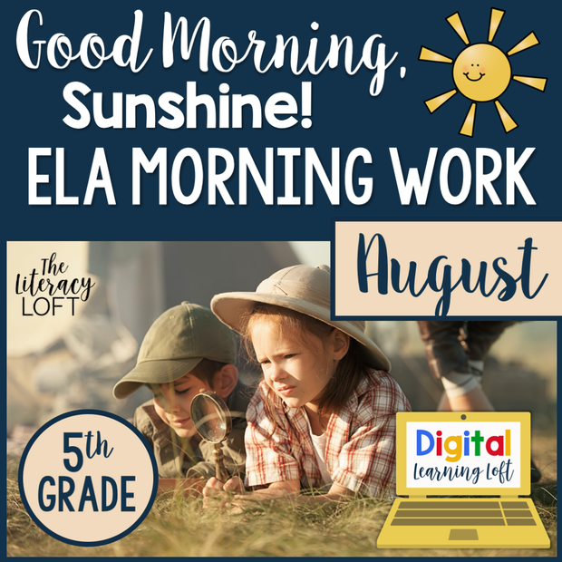 ELA Morning Work 5th Grade {August} | Distance Learning | Google Slides