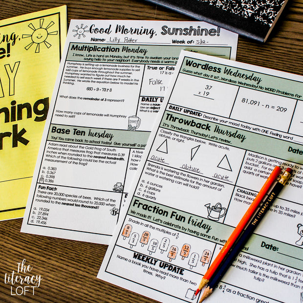 Math Morning Work 5th Grade {The Bundle} | Distance Learning | Google Slides