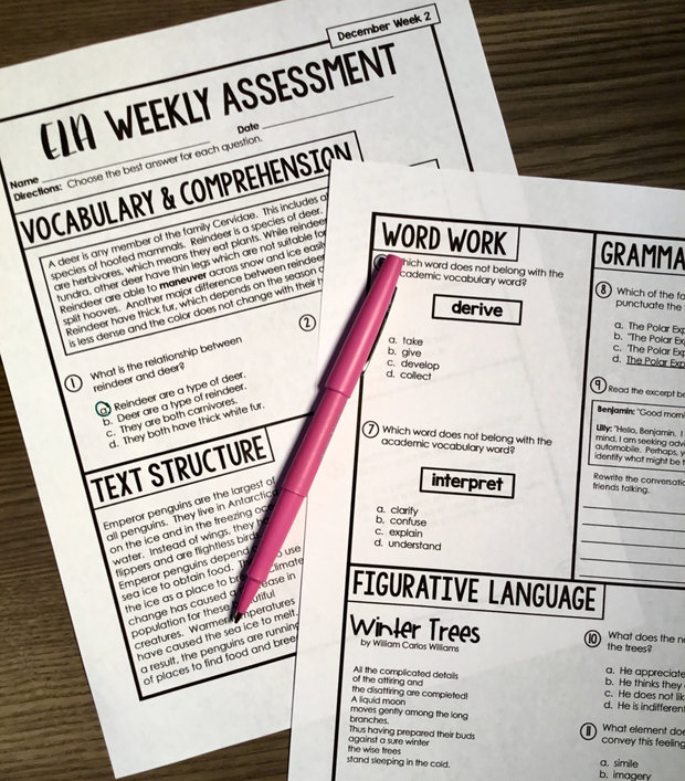 ELA Weekly Assessments {5th Grade}