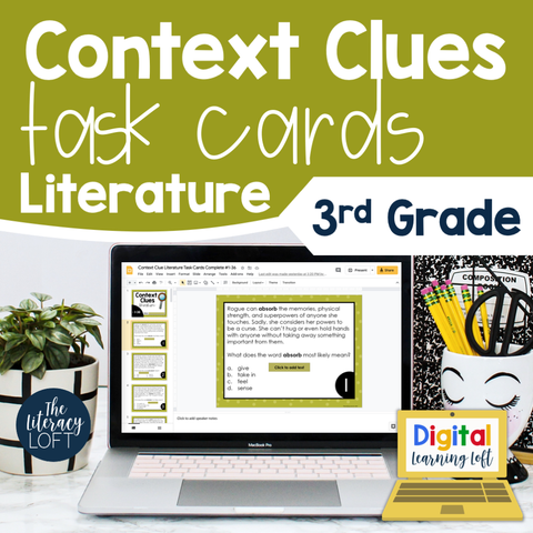 Context Clues Literature Task Cards 3rd Grade | Distance Learning | Google Slides & Forms