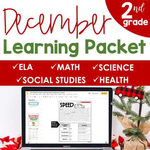 December Learning Packet 2nd Grade I Google Slides and Print