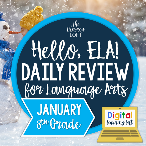 ELA Daily Review 8th Grade {January} I Distance Learning I Google Slides