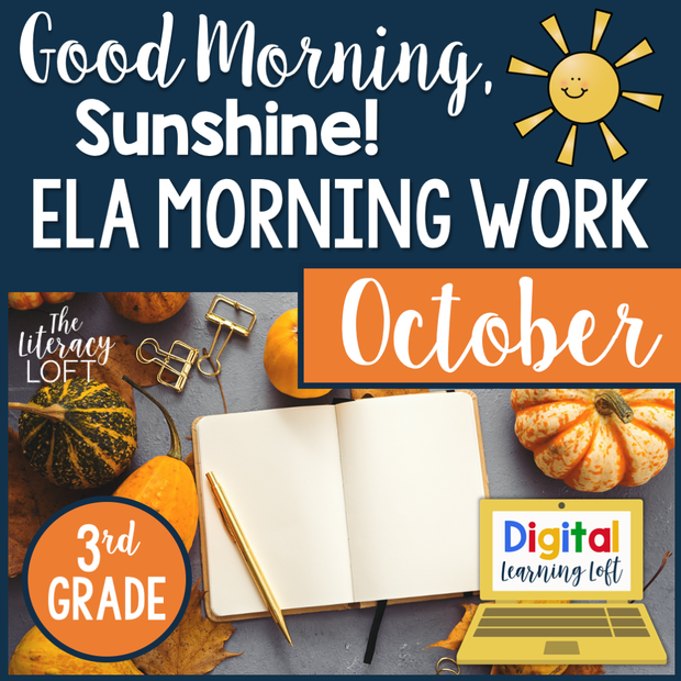 ELA Morning Work 3rd Grade {October} | Distance Learning | Google Slides
