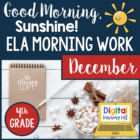 ELA Morning Work 4th Grade {December} I Distance Learning I Google Slides