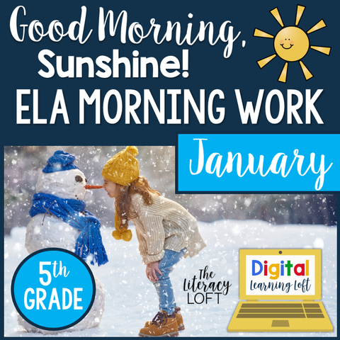 ELA Morning Work 5th Grade {January} I Distance Learning I Google Slides