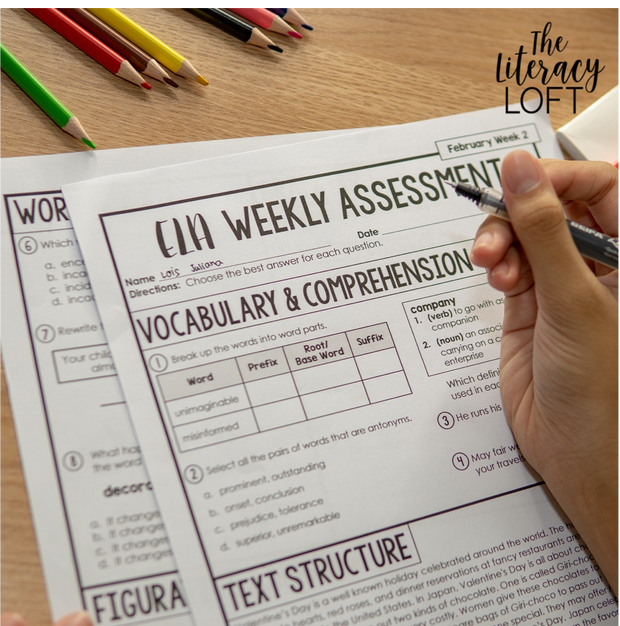 ELA Weekly Assessments {6th Grade}