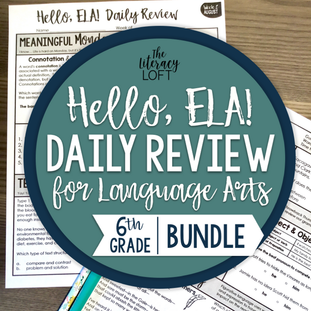 6th Grade ELA Daily Review Editable (No Clipart)
