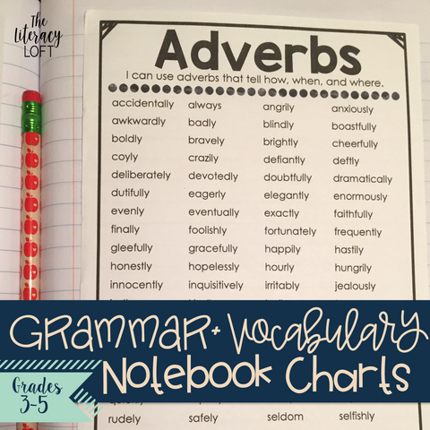Grammar & Vocabulary Notebook Charts