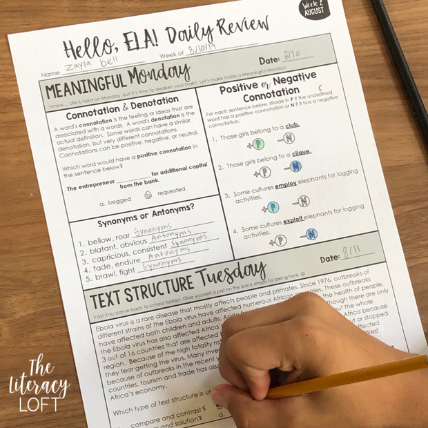 ELA Daily Review 7th Grade {August}