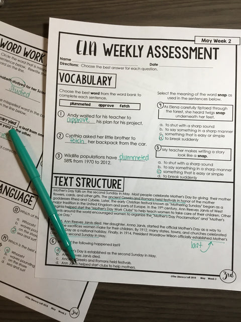 ELA Weekly Assessments (3rd Grade) | Distance Learning | Google Forms